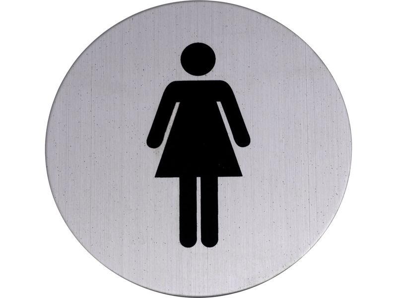 Bilde av WC-skilt damer rustfritt svart 75 mm