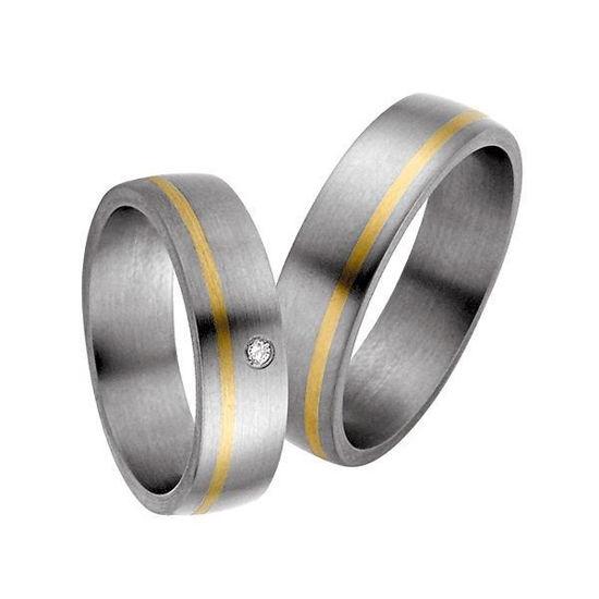 Forlovelsesringer i titan & gult gull, 6 mm. RAUSCHMAYER - 1150531