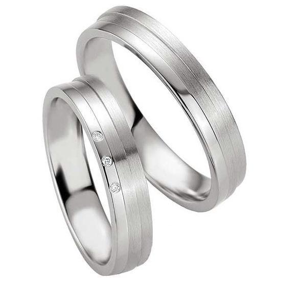 Samboerringer i sølv, 4.5 mm. SØLV MED DIAMANT - 4808077