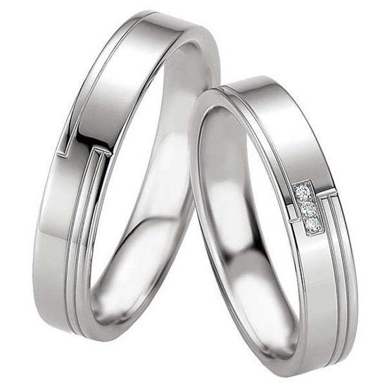 Samboerringer i sølv, 4.5 mm. SØLV MED DIAMANT - 4808067