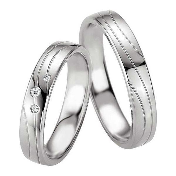 Samboerringer i sølv, 4.5 mm. SØLV MED DIAMANT - 4808071