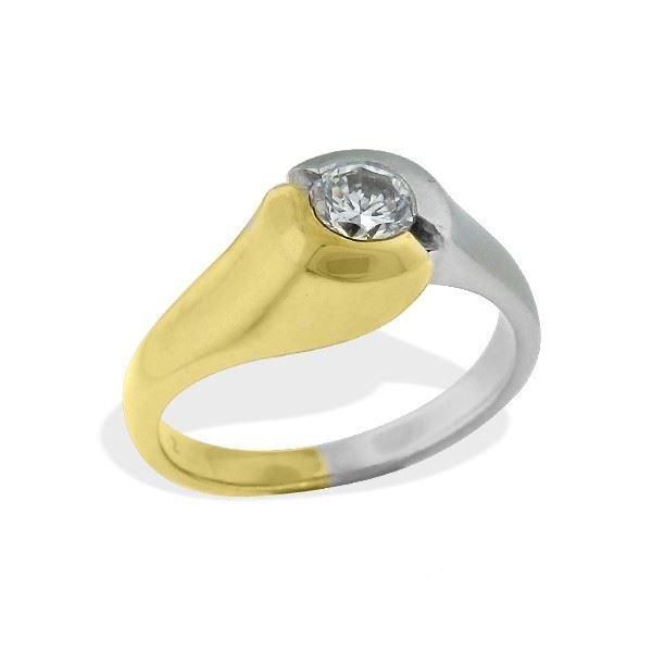Diamantring gull med 0,33 ct W-Si -6712