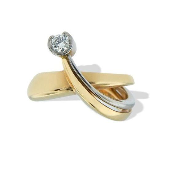 Diamantring gull med 0,11 ct TW-VS-6713