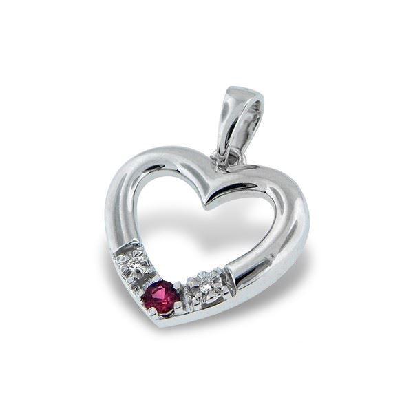 Diamanthjerte i gull med 0,06 ct TW-Si & rubin-189513