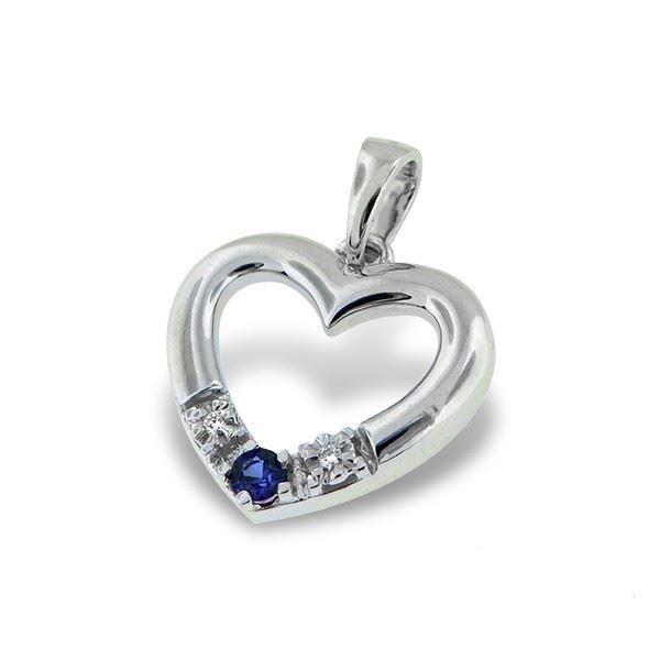 Diamanthjerte i gull med 0,013 ct TW-Si & safir-189511111