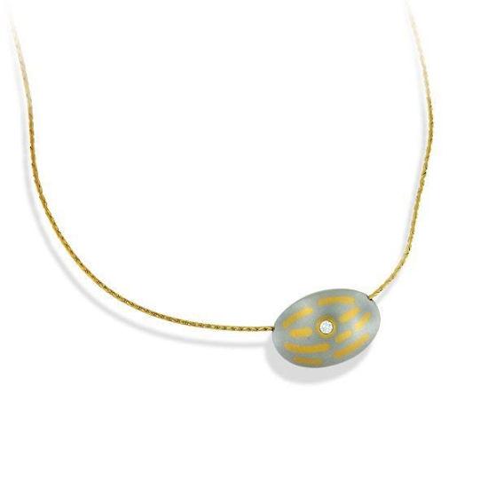 Diamantsmykke i platina og  gull med 0,07 ct W-Si - 99005172