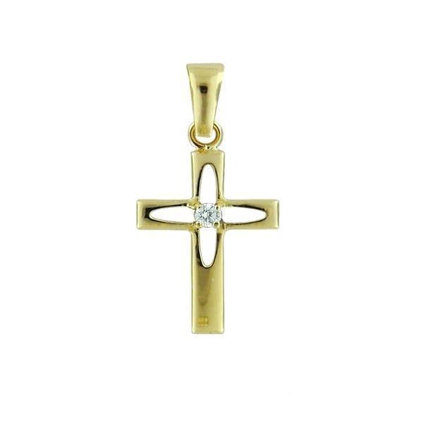Kors i gult gull 14kt med zirkonia - 7901400