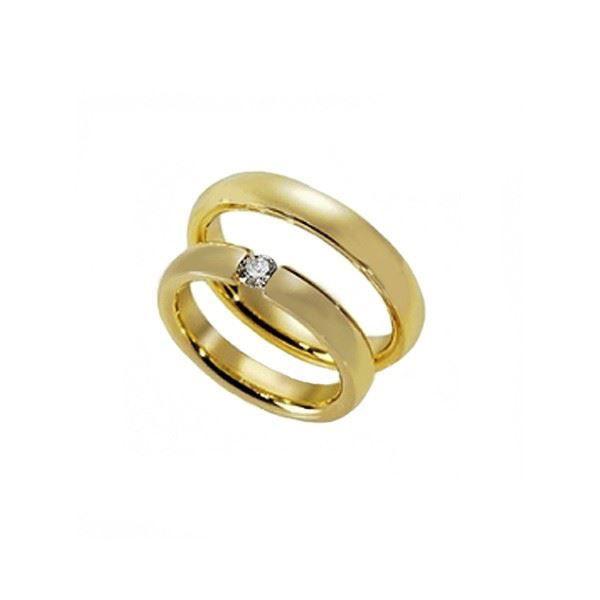 Gifteringer i gull 14 kt med diam. 0,10 ct. ARVEN -608091-1