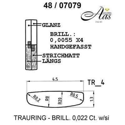 Skisse av gull 14 kt, 4.5 mm. Smart line - 4807079000