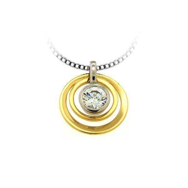 Smykke i hvitt & gult gull med zirkonia - 283079
