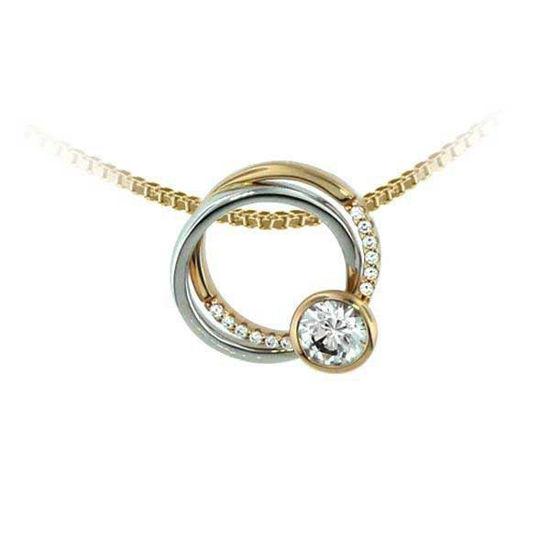Smykke i hvitt & gult gull med zirkonia - 292144