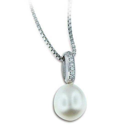 Smykke i hvitt gull med zirkonia og perle-790585