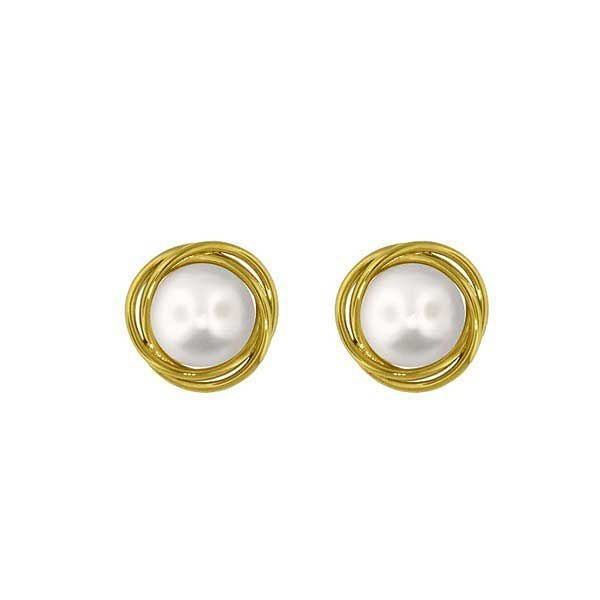 Perle øredobber i gult gull -711059