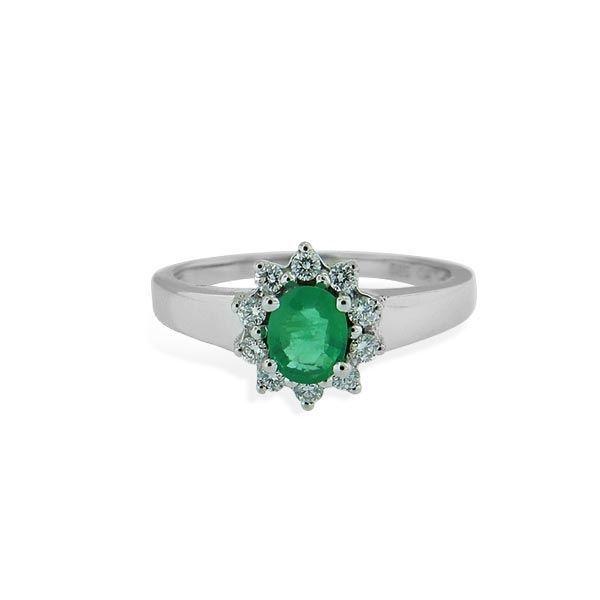 Diamantring i gull med 0,14 ct TW-SI og smaragd-70256