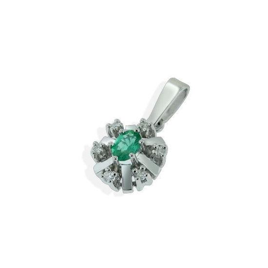 Diamantsmykke med 0,06 ct W-Si og smaragd-27058