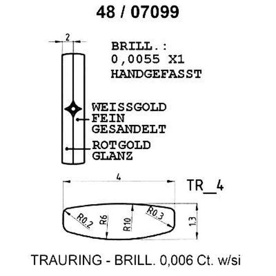Skisse av hvitt gull 9 kt, 4 mm. Smart line - 1480709900