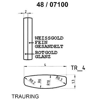 Skisse av hvitt gull 9 kt, 4 mm. Smart line - 1480710000