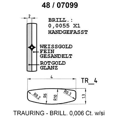 Skisse av hvitt og gult gull 9 kt, 4 mm. Smart line - 148070990