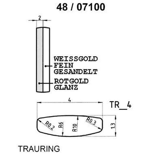 Skisse av hvitt og rødt gull gull 9 kt, 4 mm. Smart line - 14807100