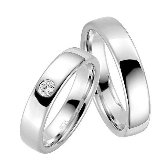Forlovelsesringer i sølv rhodinert, 5 mm. RAUSCHMAYER -113819