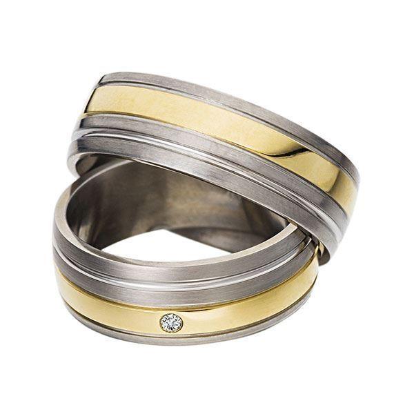 Gifteringer i stål & gult gull, 7 mm. RAUSCHMAYER - 1160027