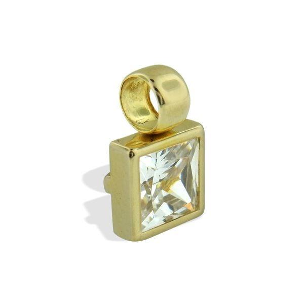Smykke i gult gull med zirkonia -200799