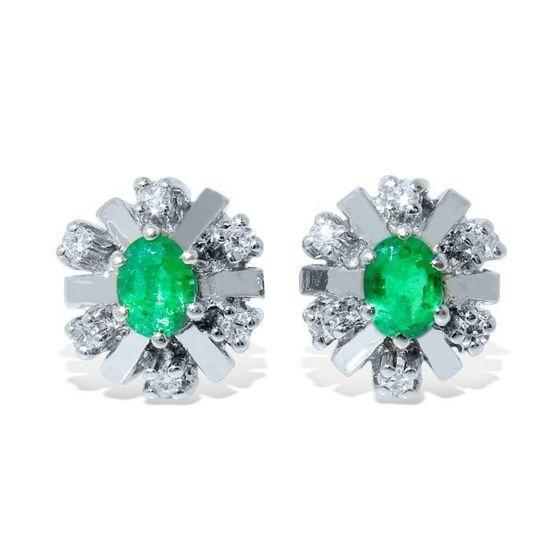 Diamant øredobber med 0,12 ct W-SI og smaragd -760054