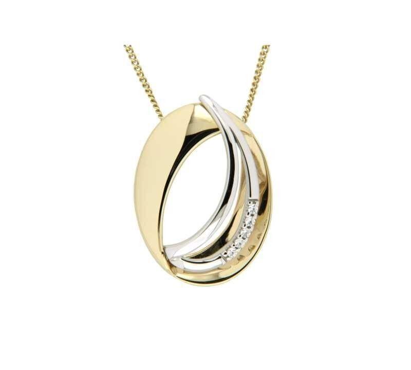 Smykke i gult & hvitt gull med zirkonia - 292263