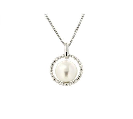 Smykke i hvitt gull med ferskvannsperle - 320516