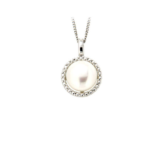 Smykke i hvitt gull med ferskvannsperle - 320534