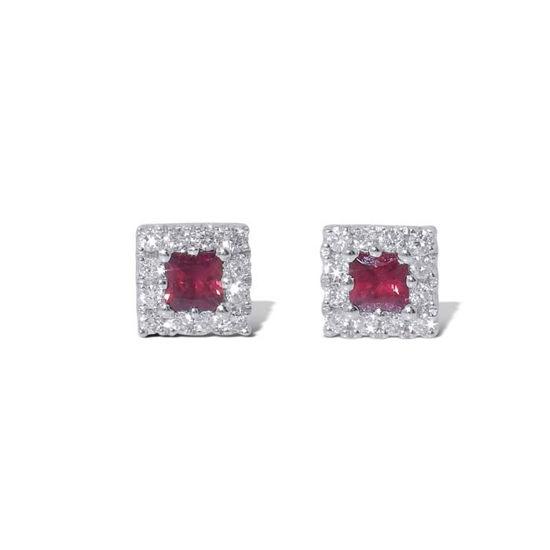 Diamant øredobber i gull 18 kt med 0,12 ct W-SI og rubin-750012