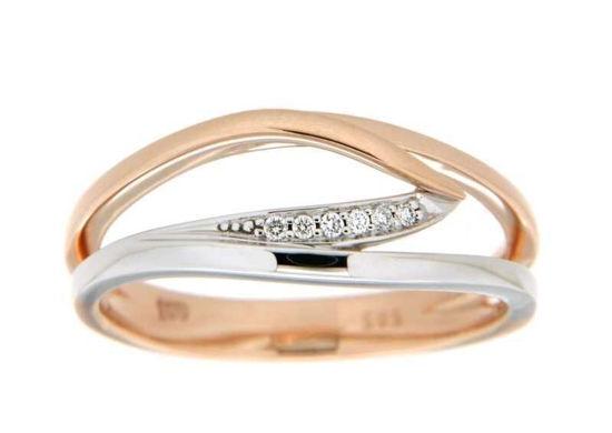 Diamantring i hvitt og rødt gull med 0,03 ct W-Si -536964