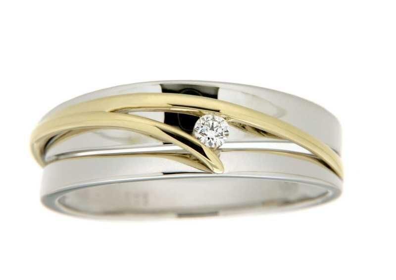 Diamantring i hvitt & gult gull med 0,05 ct W-Si -546578