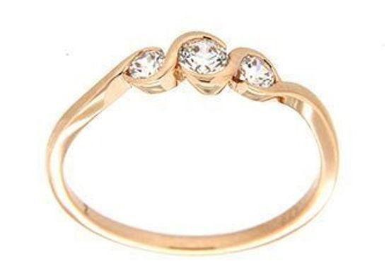 Gullring i rosé gull med zirkonia -593782
