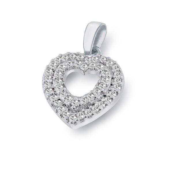 Bilde av Smykke hjerte i sølv med zirkonia