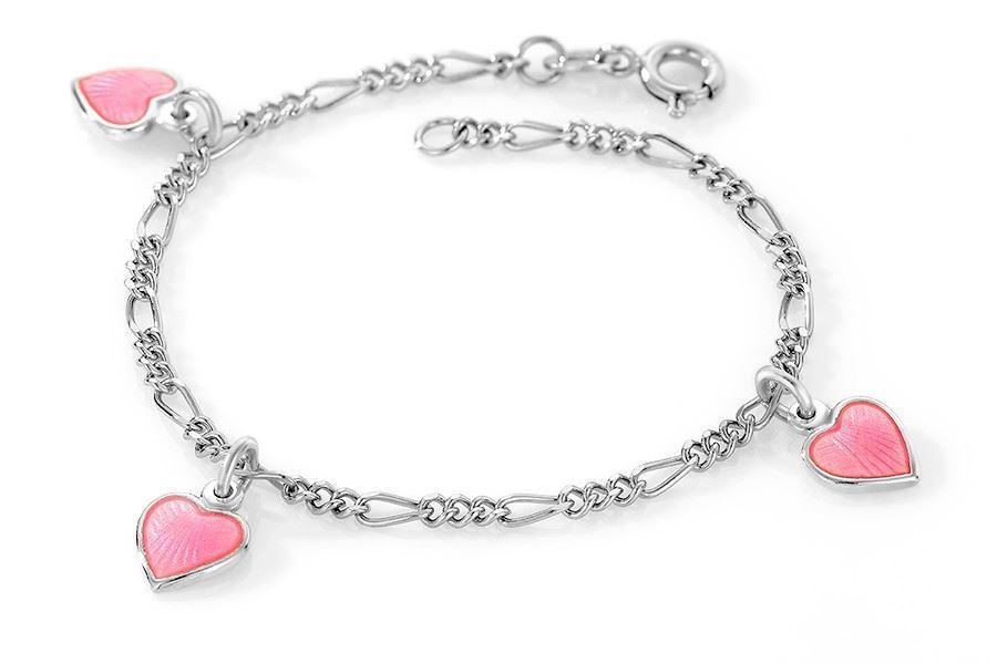 Charms-armbånd i sølv - Rosa hjerter