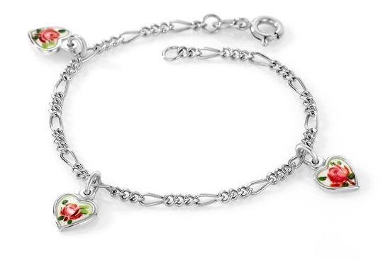 Armbånd Rosa hjerter i sølv