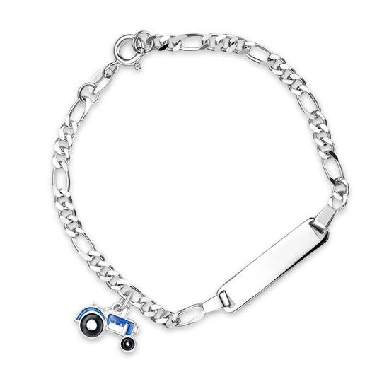 Armbånd Blå traktor i sølv