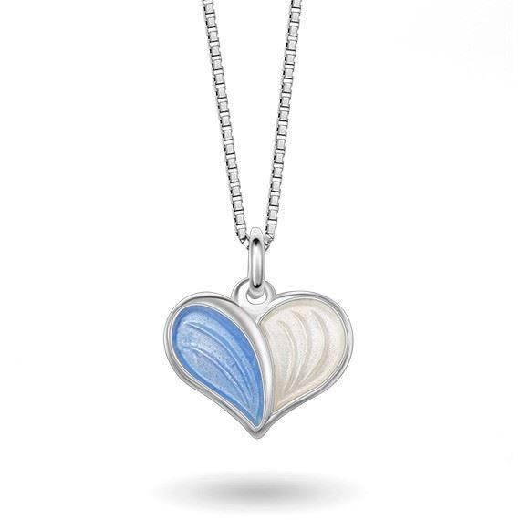 Smykke Blått Hvitt hjerte i sølv