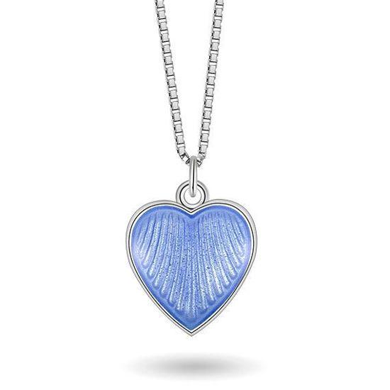 Smykke Lys blått hjerte i sølv