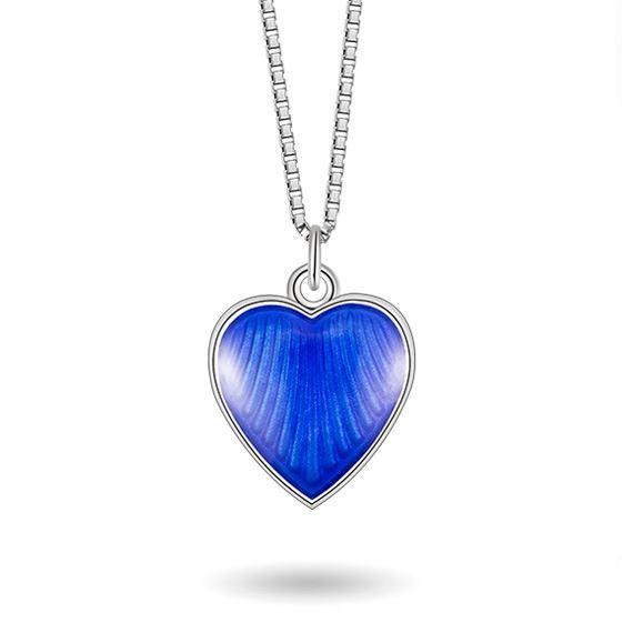 Smykke Blått hjerte i sølv