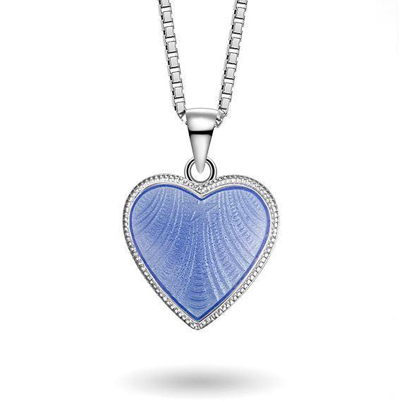 Smykke Lys blått hjerte med Fader Vår i sølv, til barn