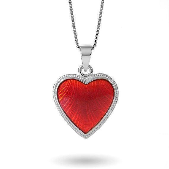 Smykke Rødt hjerte med Fader Vår i sølv