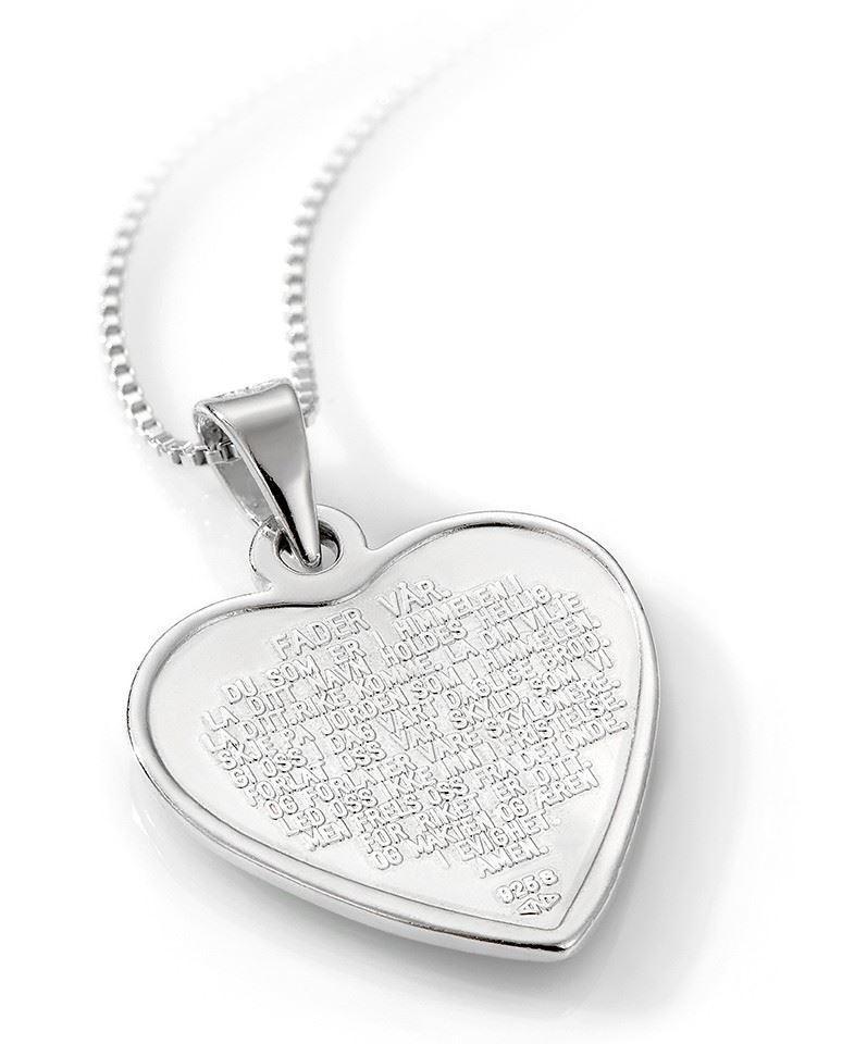 Smykke Rosa hjerte med Fader Vår i sølv, til barn