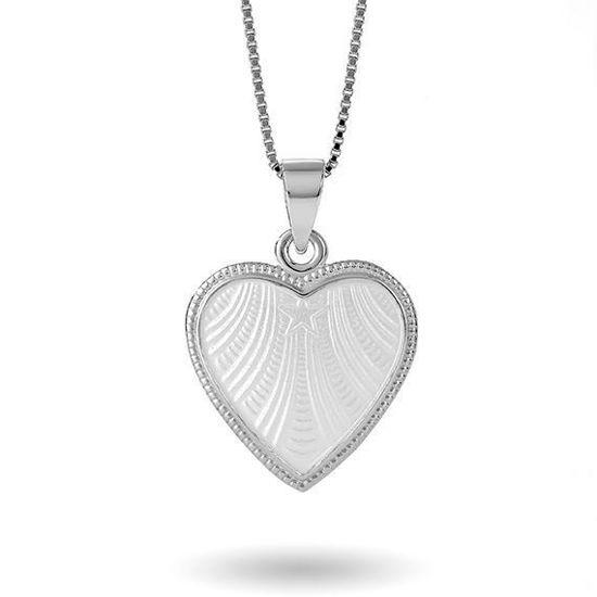 Smykke Hvitt hjerte med Fader Vår i sølv, til barn