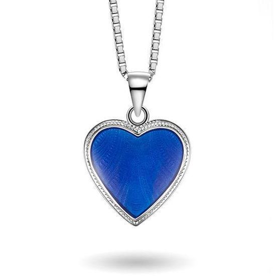 Smykke Blått hjerte med Fader Vår i sølv, til barn