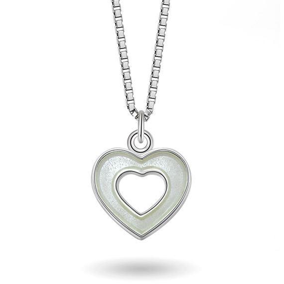 Smykke Hvitt hjerte i sølv, til barn