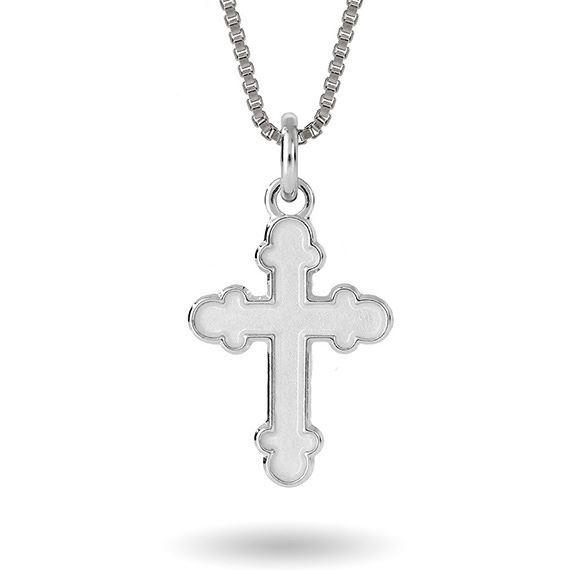 SmykkeHvitt kors i sølv, til barn