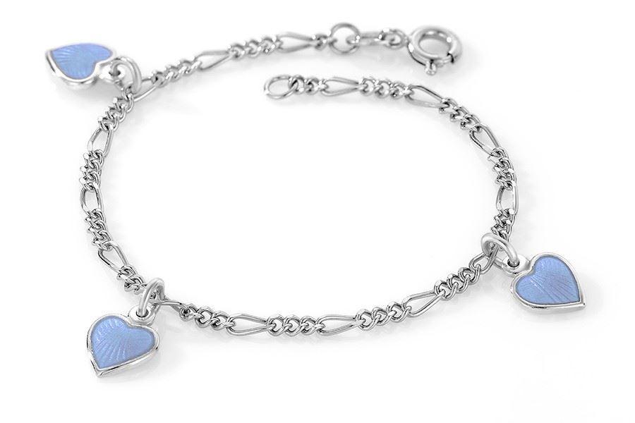 Charms-armbånd i sølv - Lys blå hjerter