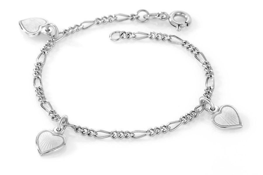 Charms-armbånd i sølv - Hvite hjerter
